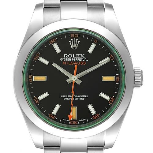 Photo of Rolex Milgauss Black Dial Green Crystal Steel Mens Watch 116400V