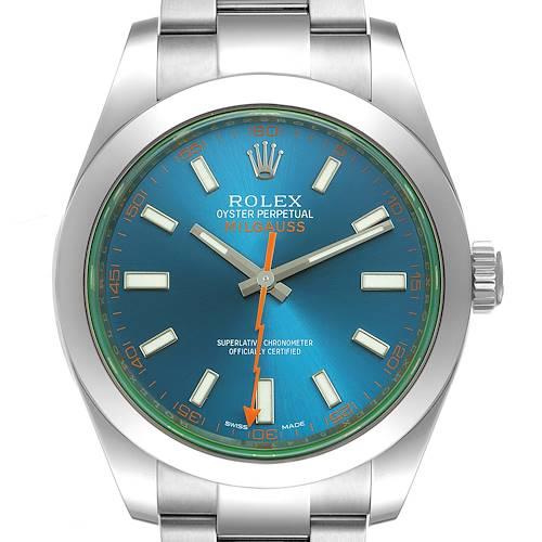 Photo of Rolex Milgauss Blue Dial Green Crystal Steel Mens Watch 116400GV Box Card