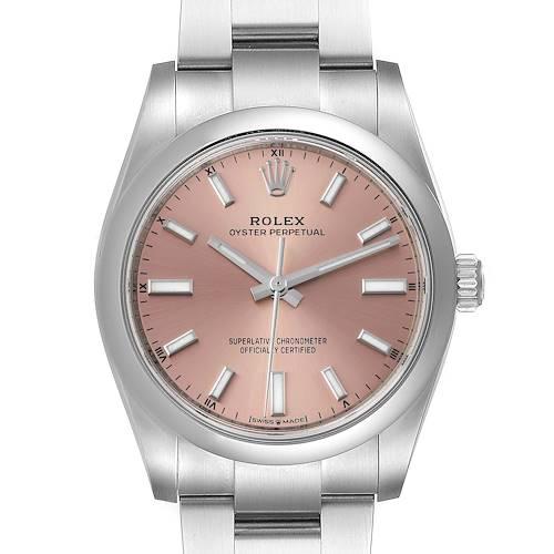 Photo of Rolex Oyster Perpetual 34mm Pink Dial Steel Mens Watch 124200 Unworn