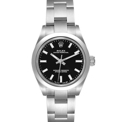 Photo of Rolex Oyster Perpetual Nondate Black Dial Steel Ladies Watch 276200 Unworn