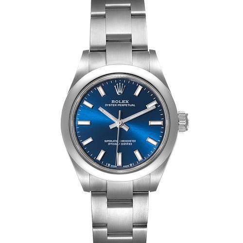 Photo of Rolex Oyster Perpetual Nondate Blue Dial Steel Ladies Watch 276200 Unworn