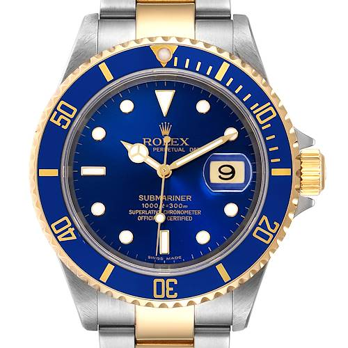 Photo of Rolex Submariner Blue Dial Steel Yellow Gold Mens Watch 16613 Box Card