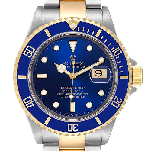 Photo of Rolex Submariner Blue Dial Steel Yellow Gold Mens Watch 16613 Box Paper