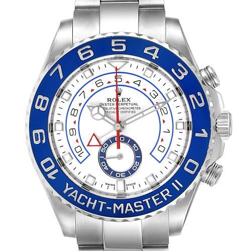 Photo of Rolex Yachtmaster II 44 Blue Cerachrom Bezel Steel Mens Watch 116680