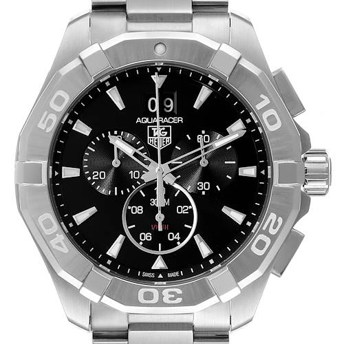 Photo of Tag Heuer Aquaracer Black Dial Chronograph Steel Mens Watch CAY1110