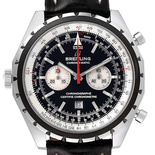 Photo of Breitling Chronomatic Left Crown Black Strap Mens Watch A41360 Box Papers