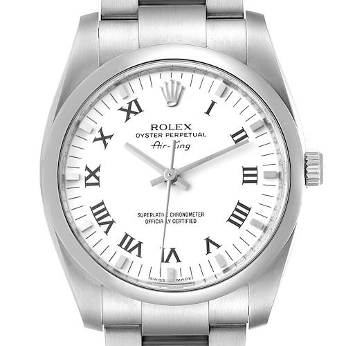 Photo of Rolex Air King 34 White Roman Dial Domed Bezel Steel Mens Watch 114200