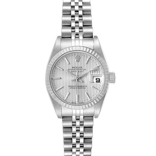 Photo of Rolex Datejust 26 Steel White Gold Tapestry Dial Watch 79174 Box Papers