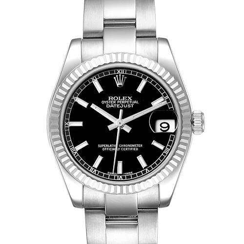 Photo of Rolex Datejust Midsize 31 Steel White Gold Black Dial Watch 178274 Box Card