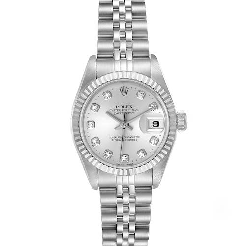 Photo of Rolex Datejust Steel White Gold Silver Diamond Dial Ladies Watch 69174