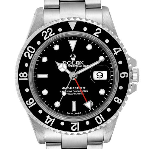 Photo of Rolex GMT Master II Black Bezel Steel Mens Watch 16710 Box Papers