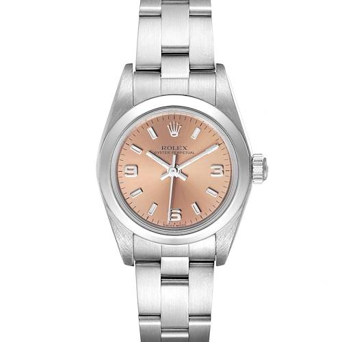 Photo of Rolex Oyster Perpetual Salmon Dial Domed Bezel Steel Watch 76080 Box Papers