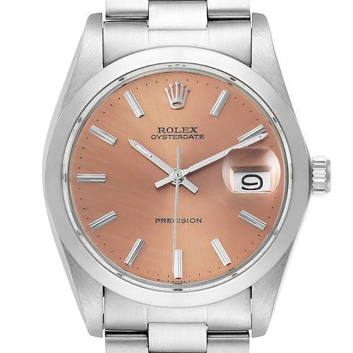 Photo of Rolex OysterDate Precision Bronze Dial Steel Vintage Mens Watch 6694