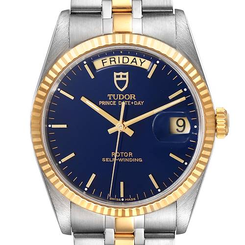 Photo of Tudor Day Date Blue Dial Steel Yellow Gold Mens Watch 76213 Unworn