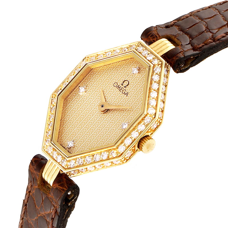 Omega DeVille Mini Yellow Gold Diamond Cocktail Ladies Watch 1450 SwissWatchExpo