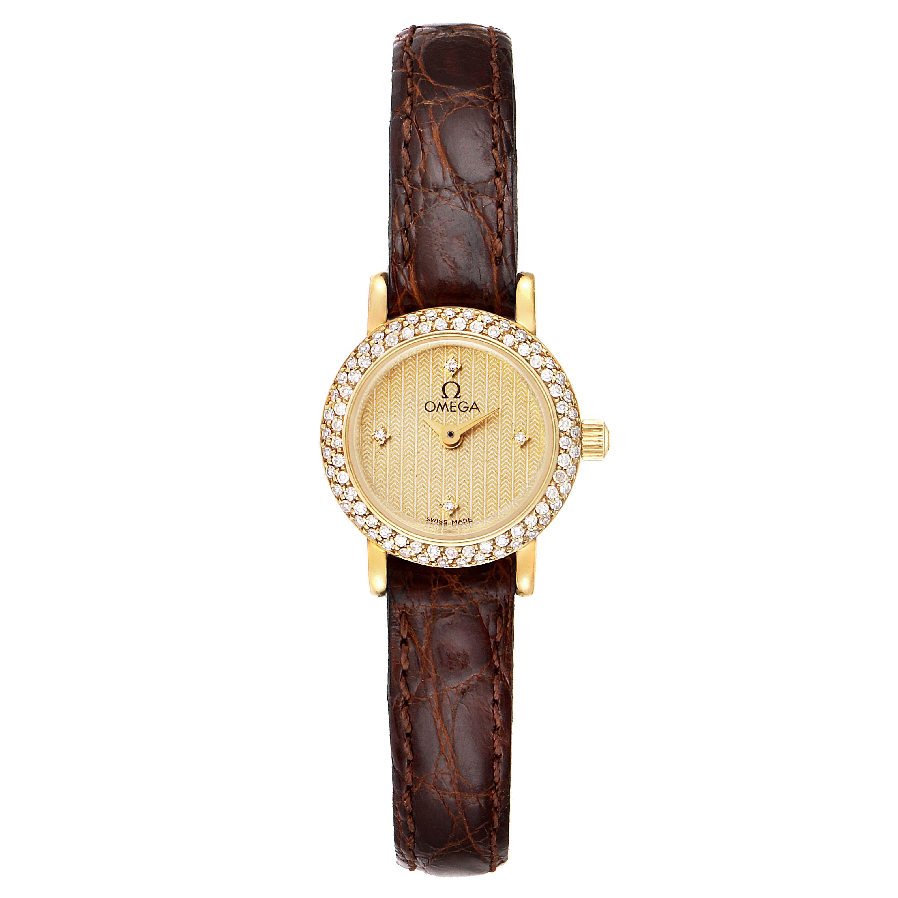 Omega DeVille Mini Yellow Gold Diamond Cocktail Ladies Watch 1450 SwissWatchExpo