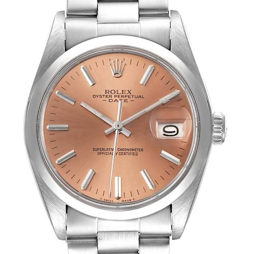 Photo of Rolex Date Stainless Steel Bronze Dial Vintage Mens Watch 1500