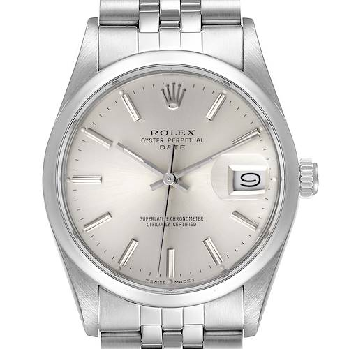 Photo of Rolex Date Stainless Steel Silver Dial Vintage Mens Watch 15000 Box Papers