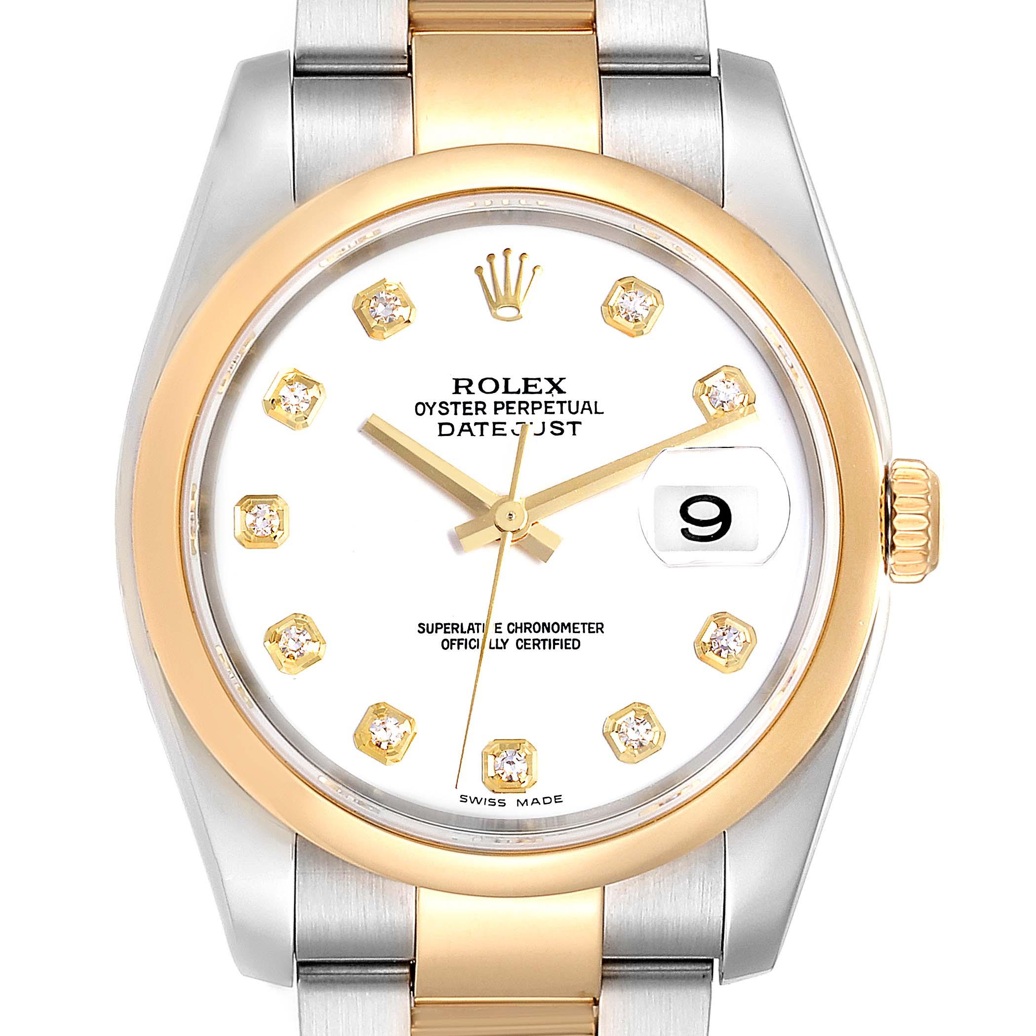 Rolex Datejust 36 Steel 18K Yellow Gold Diamond Dial Mens Watch 116203