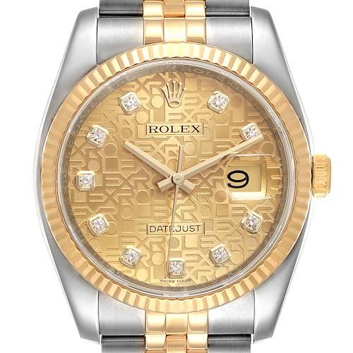 Photo of Rolex Datejust 36 Steel Yellow Gold Diamond Mens Watch 116233 Box Card