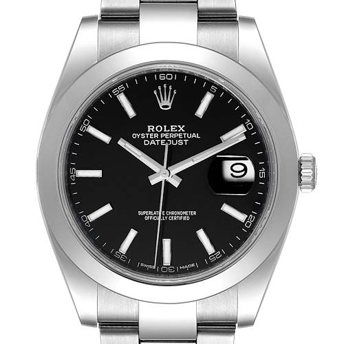 Photo of Rolex Datejust 41 Black Dial Smooth Bezel Steel Mens Watch 126300 Box Card