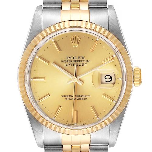 Photo of Rolex Datejust Steel 18K Yellow Gold Champagne Dial Mens Watch 16233