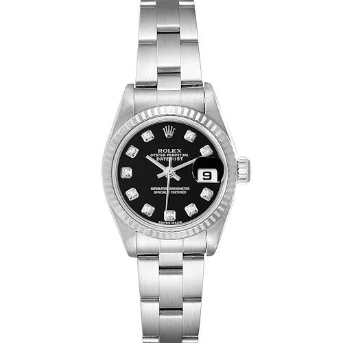 Photo of Rolex Datejust Steel White Gold Black Diamond Dial Watch 79174 Box Papers
