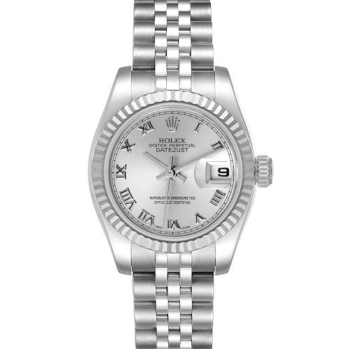 Photo of Rolex Datejust Steel White Gold Silver Dial Ladies Watch 179174 Box Card