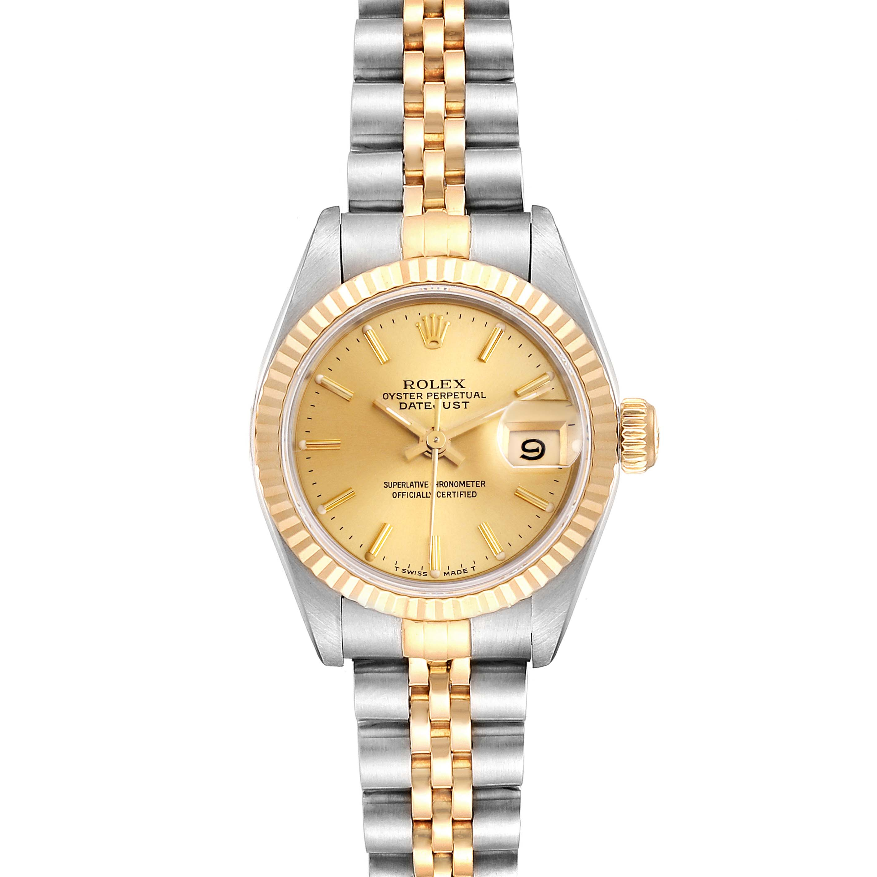 Rolex Datejust Steel Yellow Gold Ladies Watch 69173 Box Papers