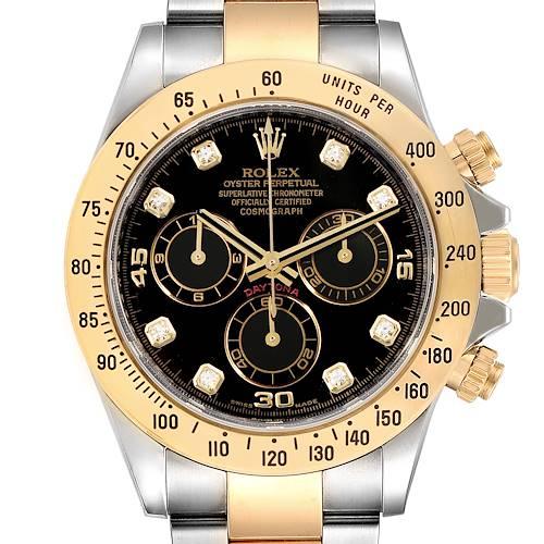 Photo of Rolex Daytona Steel Yellow Gold Diamond Chronograph Watch 116523 Box Card