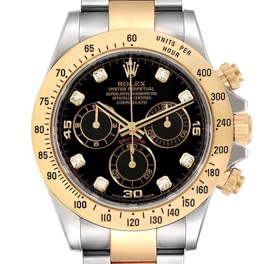 Rolex Daytona Steel Yellow Gold Diamond Chronograph Watch 116523 Box Card SwissWatchExpo