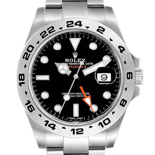 Photo of Rolex Explorer II 42mm Black Dial Steel Mens Watch 216570 Box Card