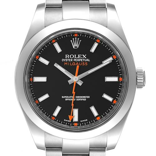 Photo of Rolex Milgauss Black Dial Domed Bezel Steel Mens Watch 116400