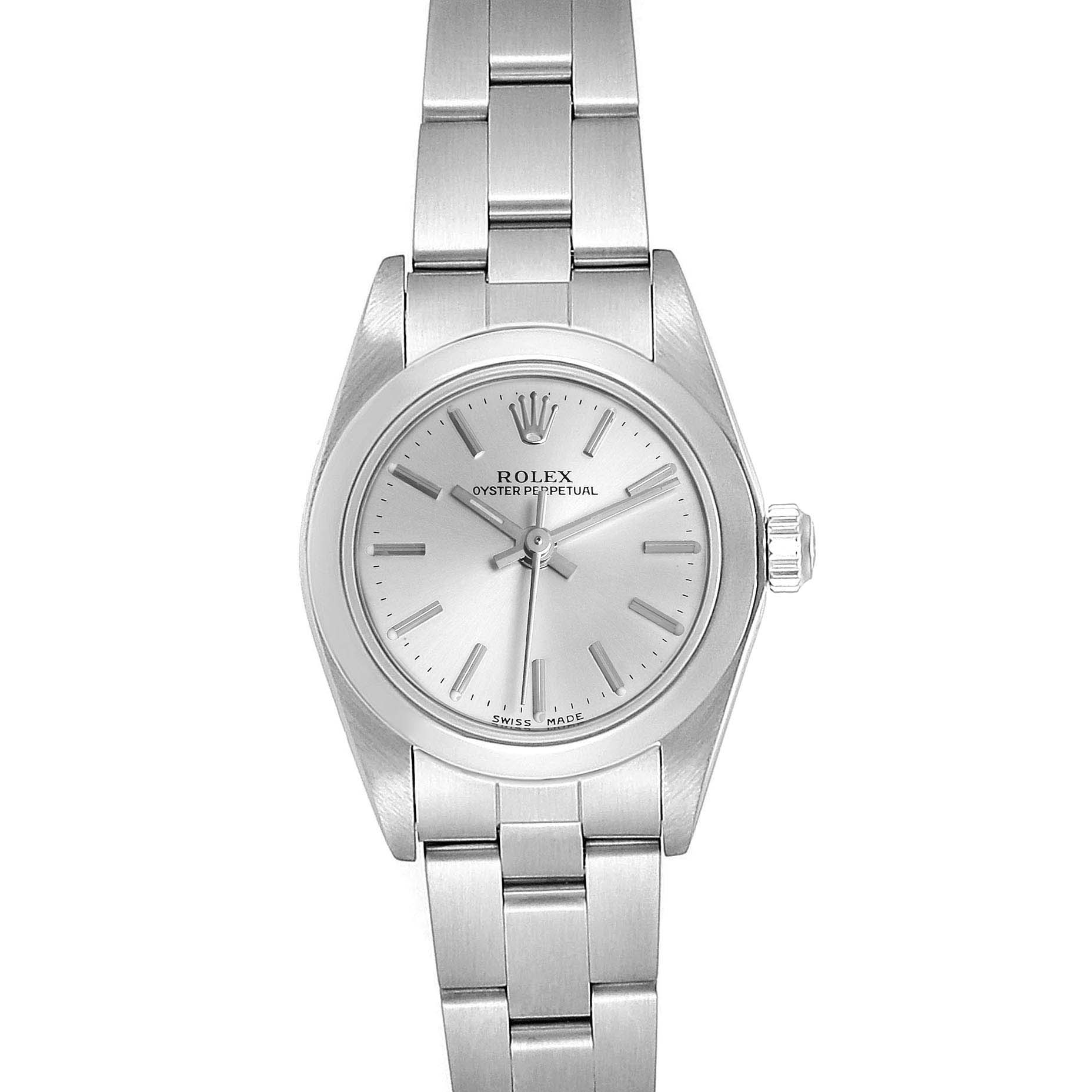 Rolex Oyster Perpetual Nondate Silver Dial Ladies Watch 76080 Box Papers