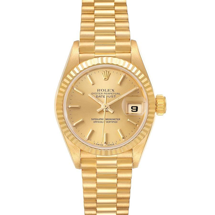 Rolex President Datejust 18K Yellow Gold Champagne Dial Ladies Watch 69178 SwissWatchExpo
