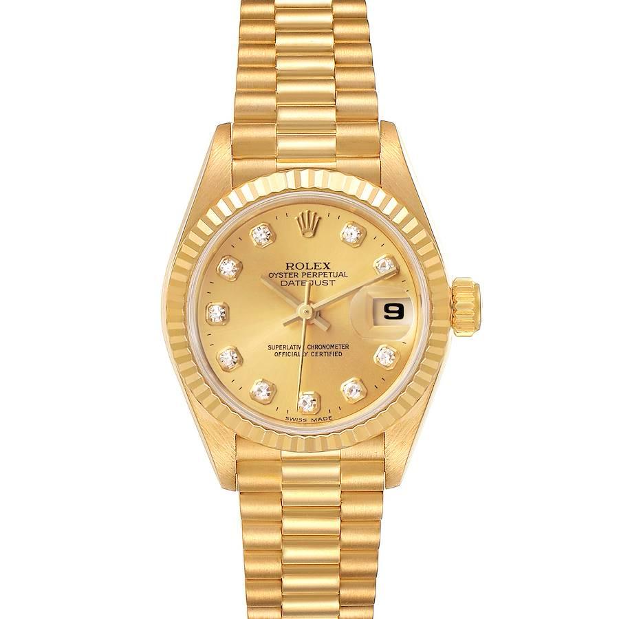 Rolex President Datejust Yellow Gold Diamond Dial Ladies Watch 69178 SwissWatchExpo