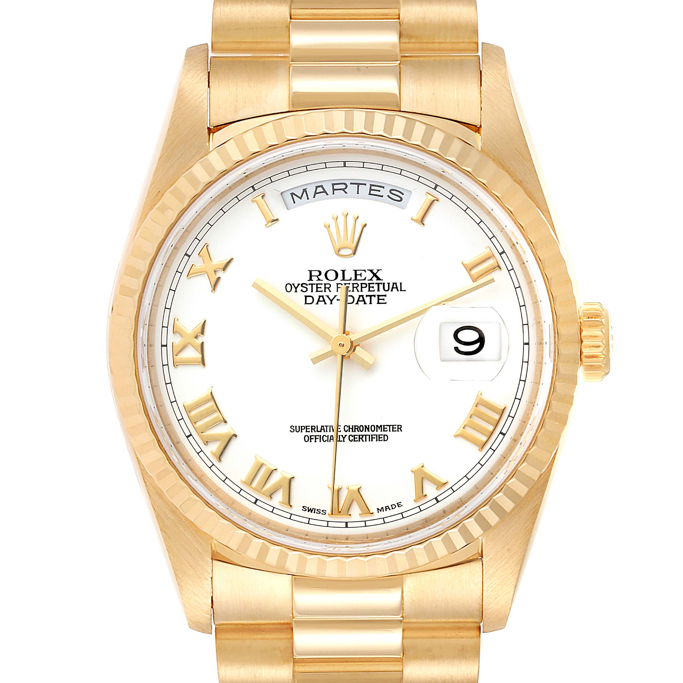 Rolex President Day-Date 18k Yellow Gold White Dial Mens Watch 18238