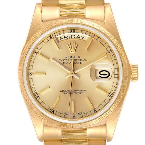 Photo of Rolex President Day-Date Yellow Gold Bark Finish Mens Watch 18078