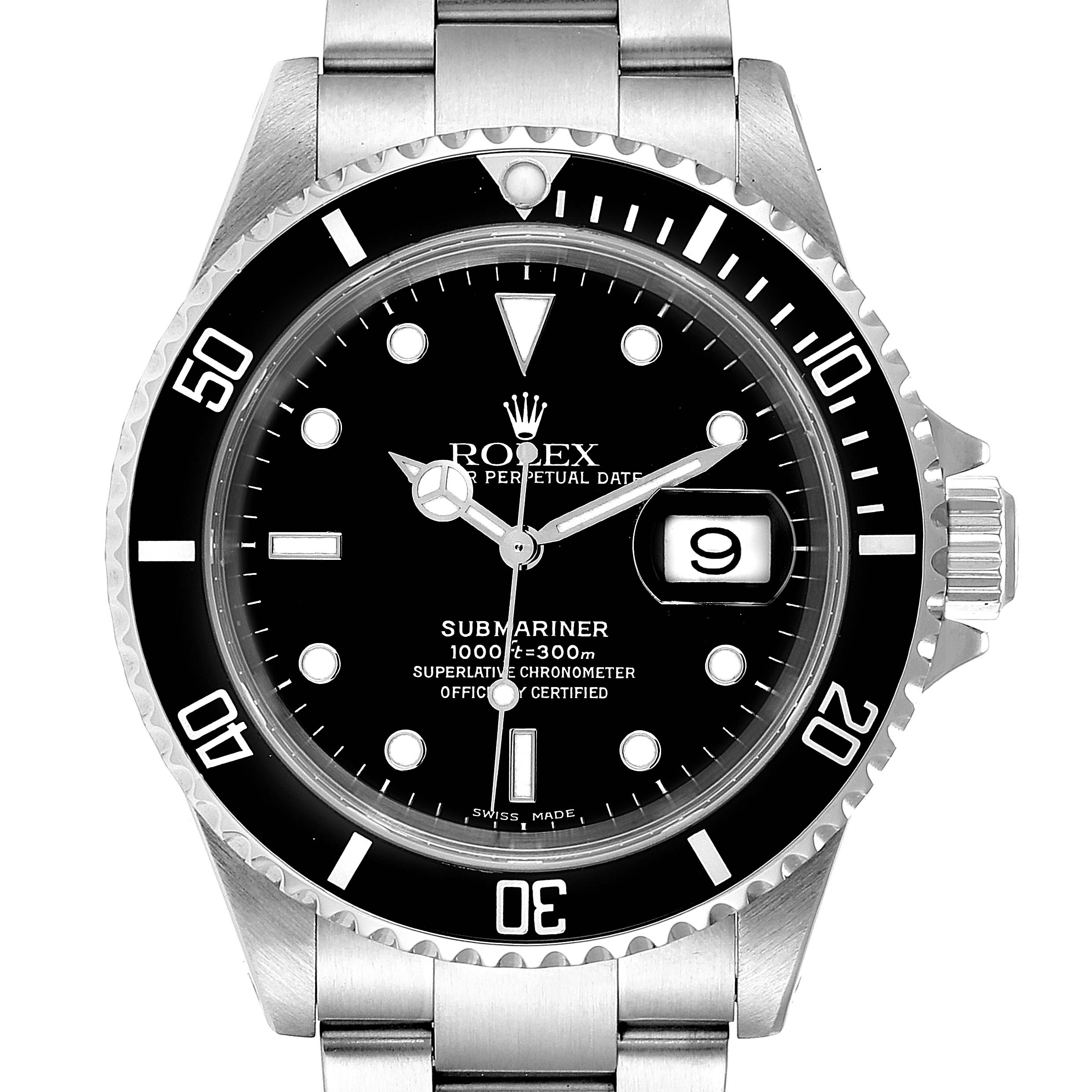 Rolex Submariner Date 40mm Stainless Steel Mens Watch 16610 Box Papers