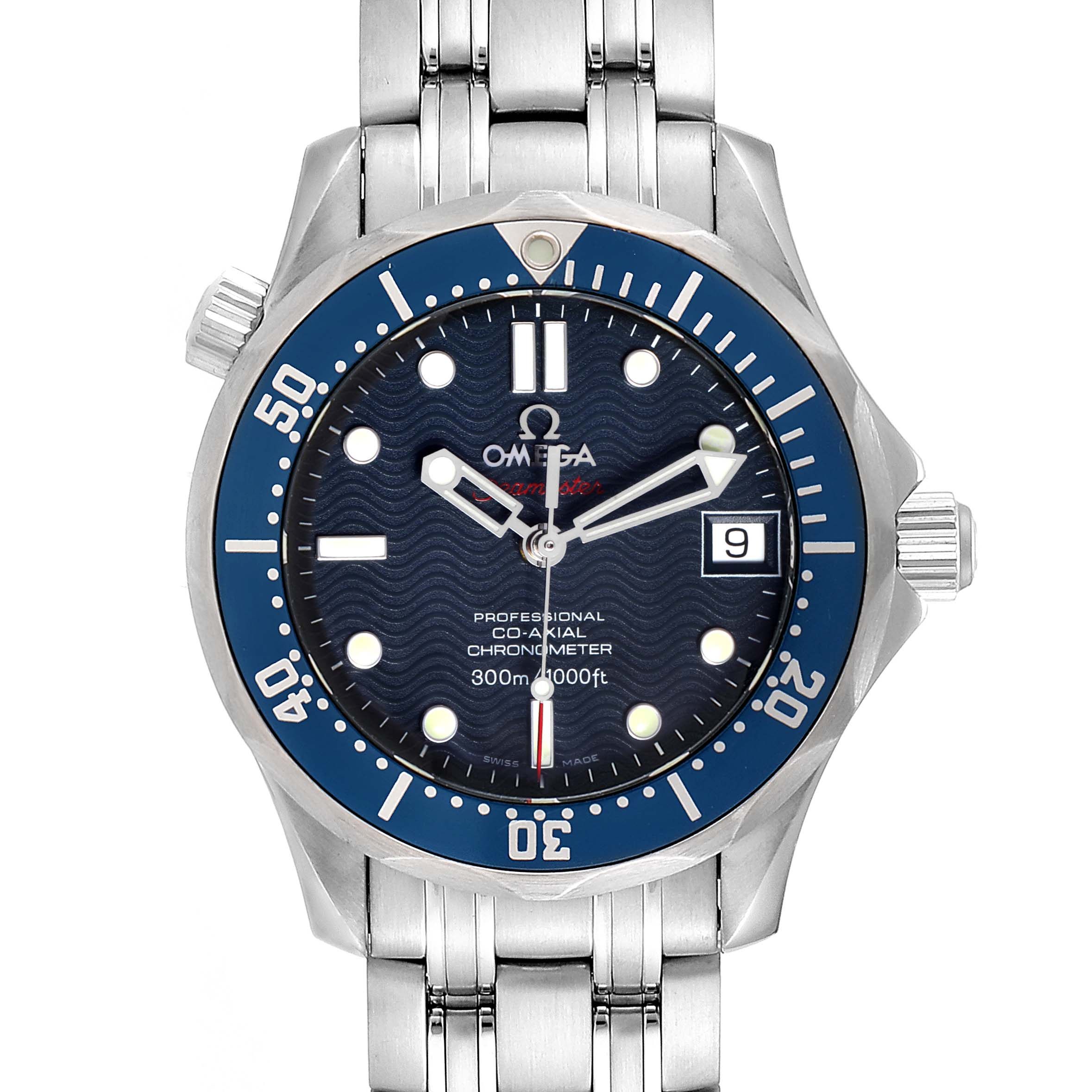 Omega Seamaster Midsize 36mm Co-Axial Blue Dial Watch 2222.80.00 SwissWatchExpo