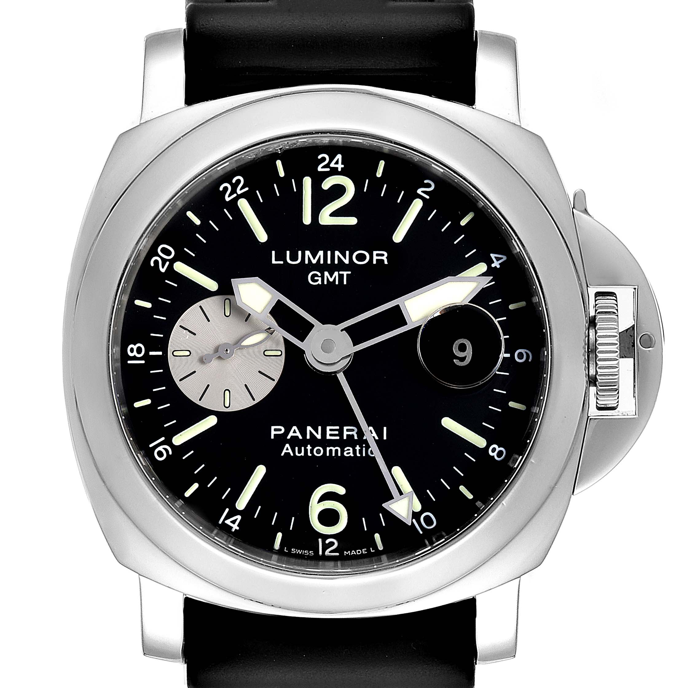 Panerai Luminor GMT Black Strap Automatic Mens Watch PAM00088 SwissWatchExpo