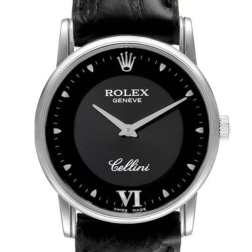 Photo of Rolex Cellini Classic Black Dial 18K White Gold Mens Watch 5116