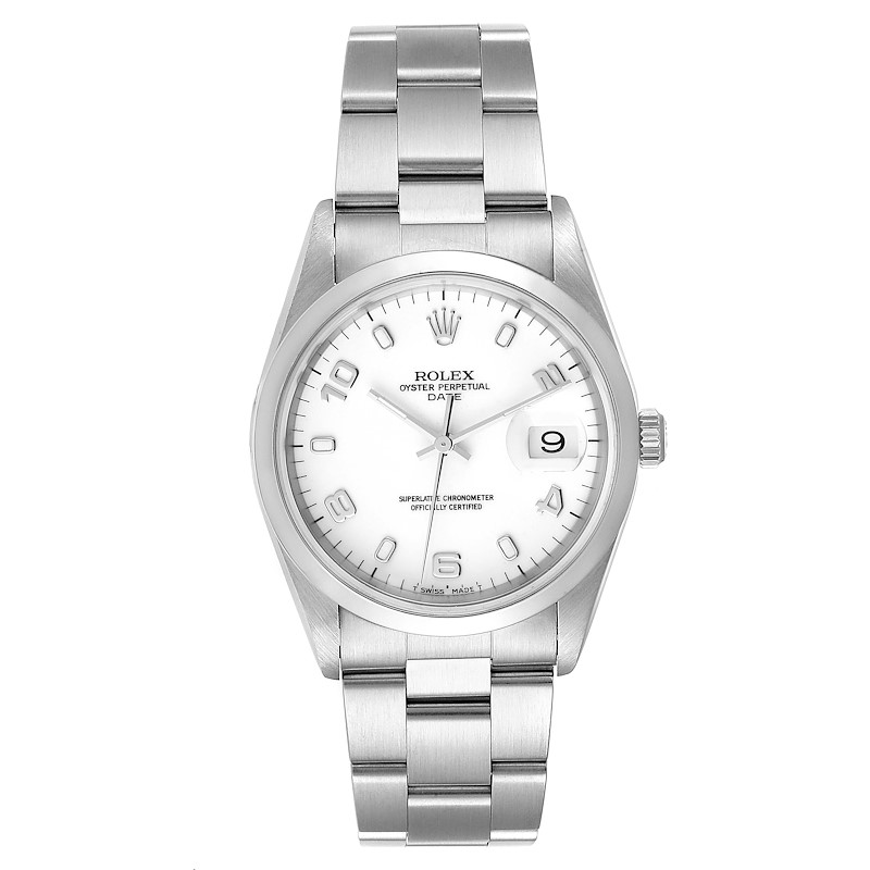 Rolex Date White Dial Oyster Bracelet Steel Mens Watch 15200 SwissWatchExpo