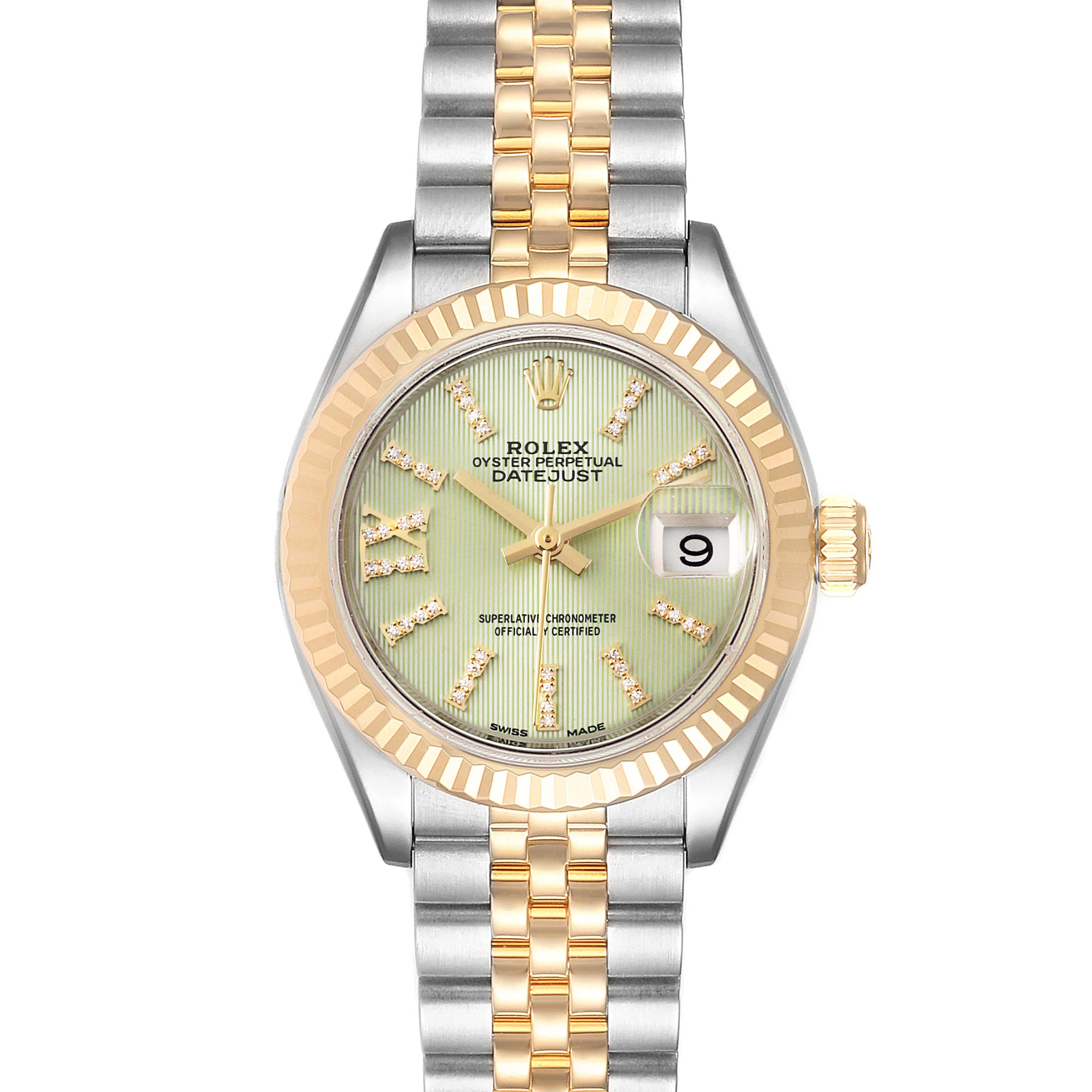 Rolex Datejust 28 Steel Yellow Gold Green Diamond Dial Ladies Watch 279173