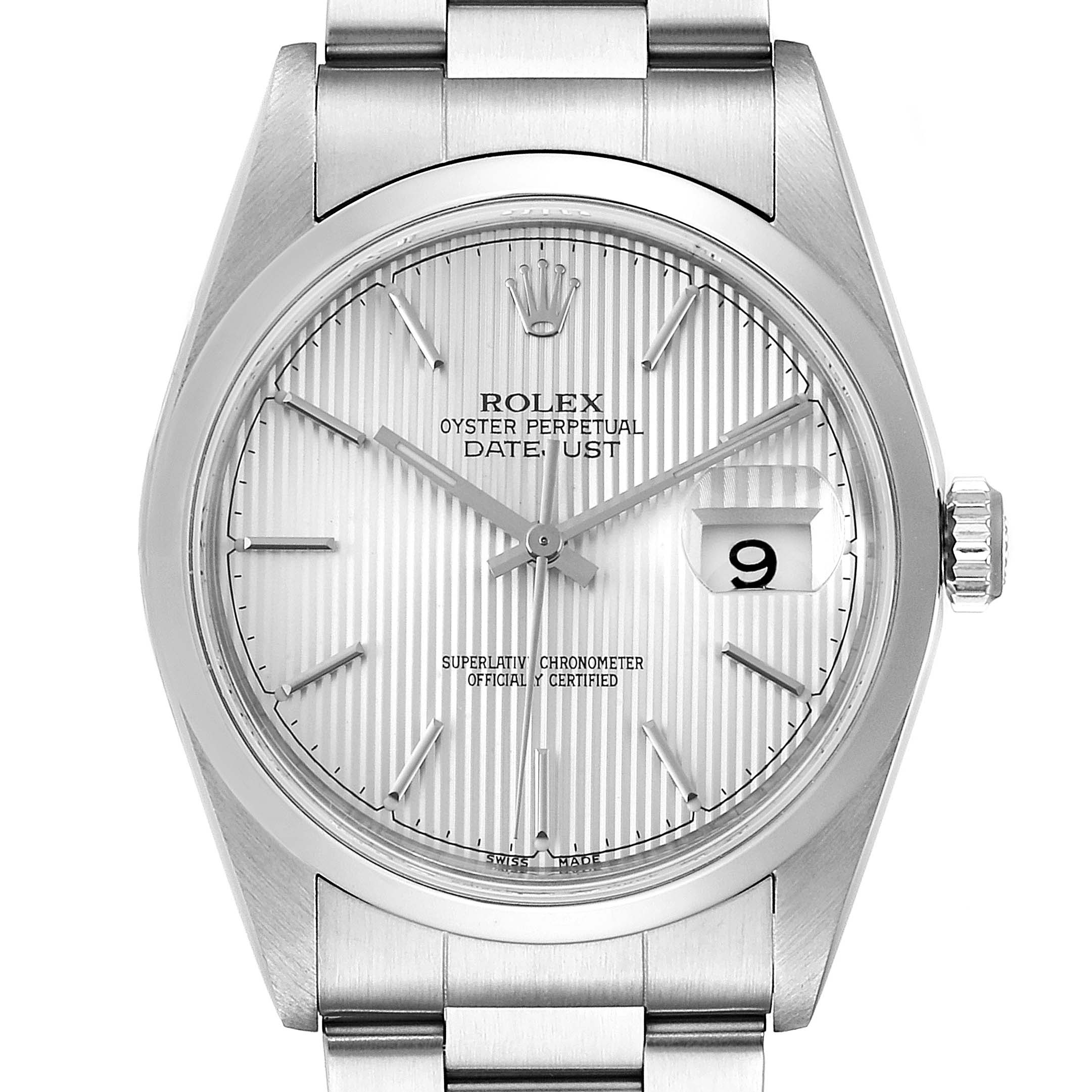 Rolex Datejust 36 Silver Dial Oyster Bracelet Steel Mens Watch 16200