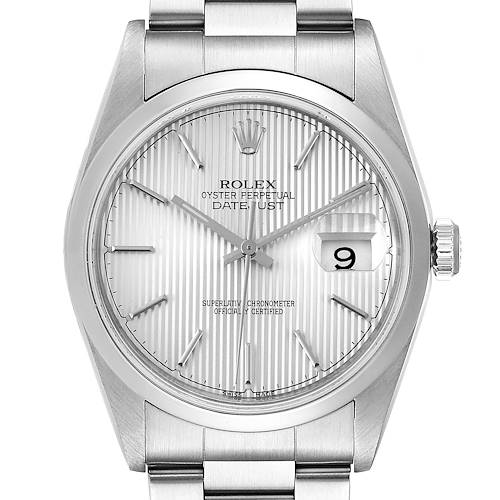 Photo of Rolex Datejust 36 Silver Dial Oyster Bracelet Steel Mens Watch 16200
