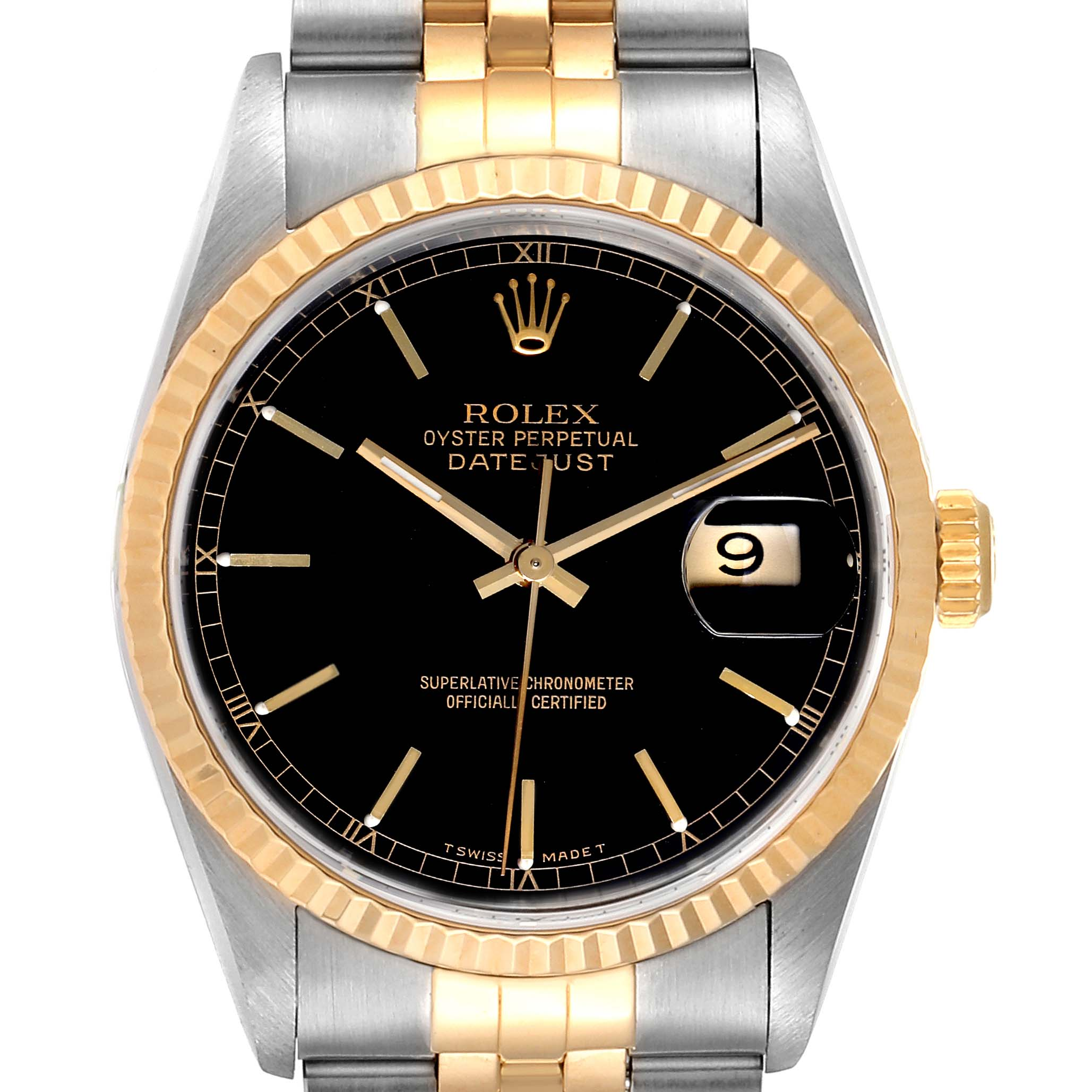 Rolex Datejust Steel Yellow Gold Black Dial Mens Watch 16233 Box