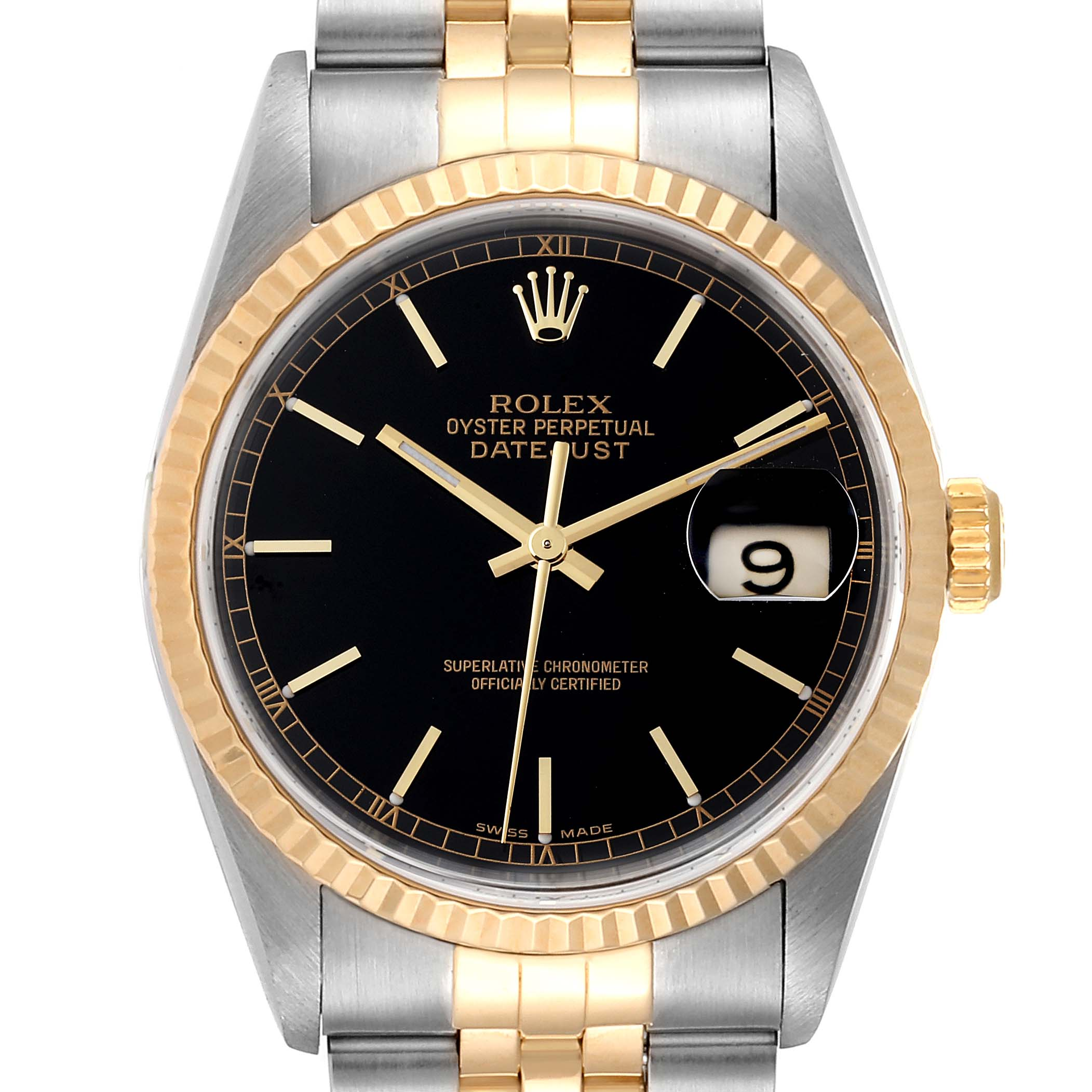 Rolex Datejust Steel Yellow Gold Black Dial Mens Watch 16233 Box Papers