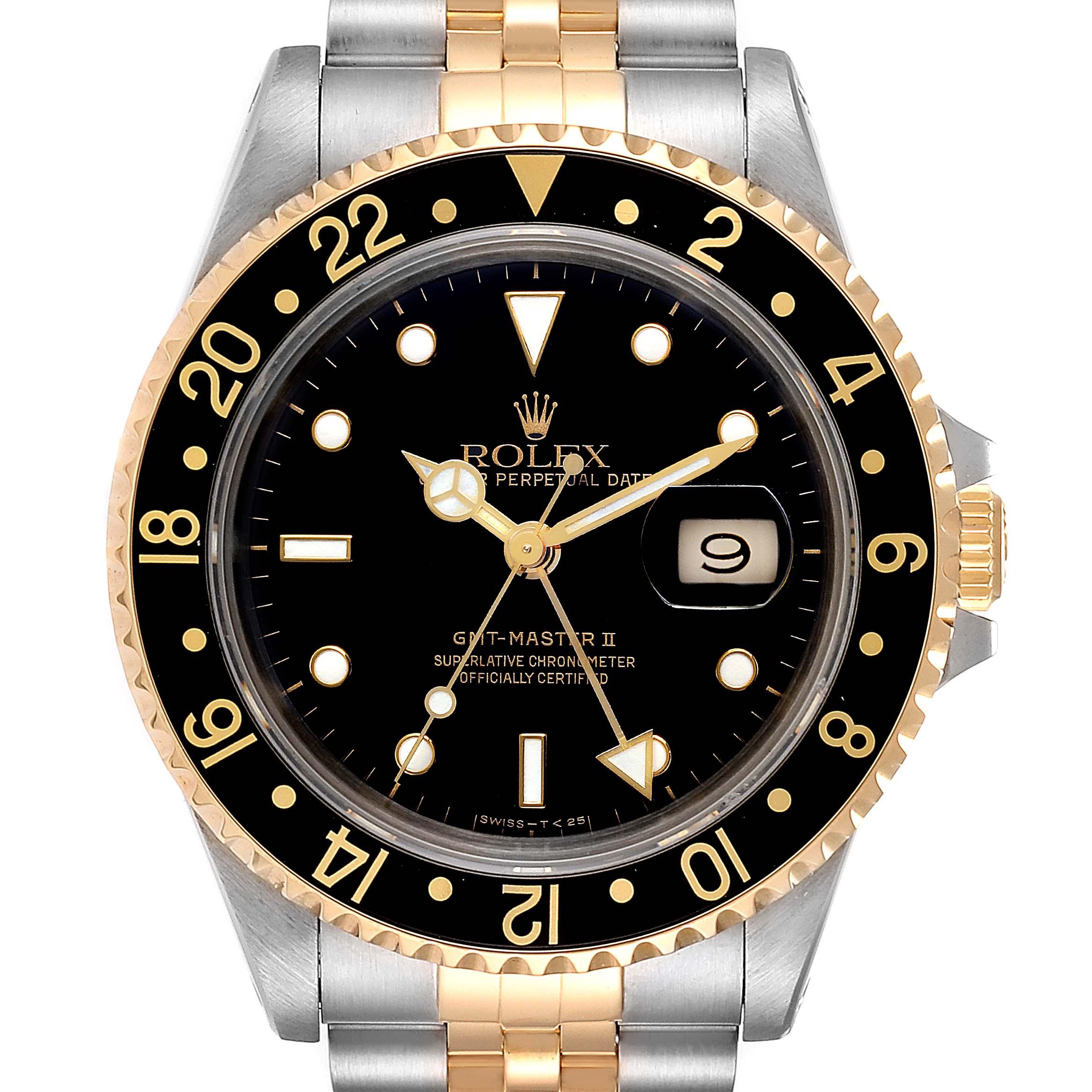 Rolex GMT Master II Yellow Gold Steel Jubilee Bracelet Mens Watch 16713