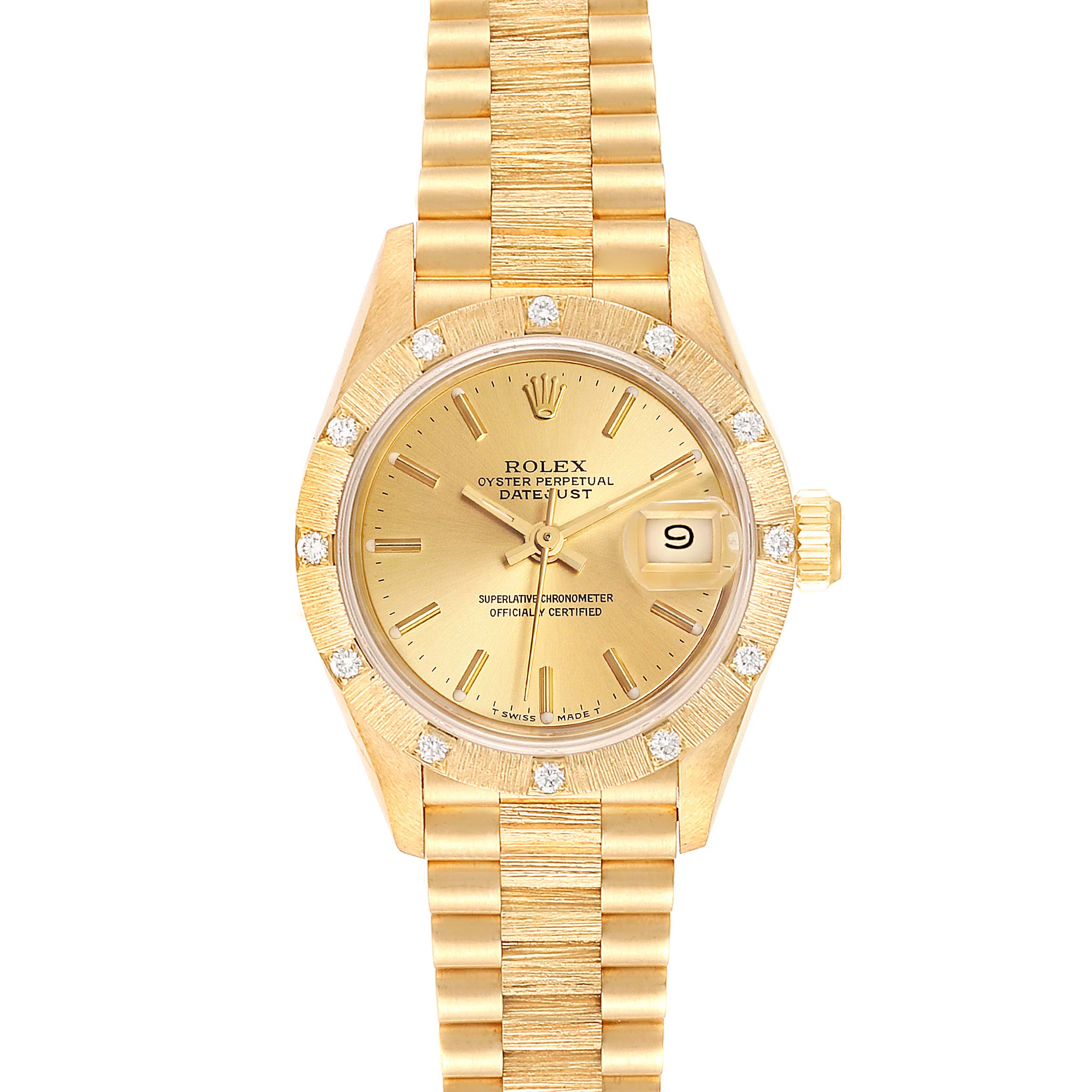 Rolex President Datejust Yellow Gold Diamond Ladies Watch 69288